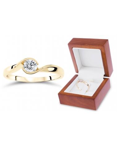 Złoty pierścionek cyrkonia 333 G90