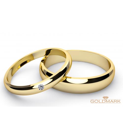 Złote Obrączki z brylantem 4 mm i 5 mm  8KT