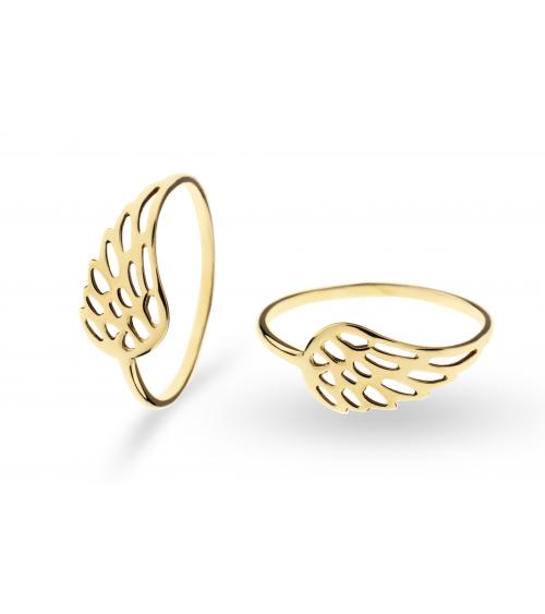 Złoty pierścionek skrzydło wings